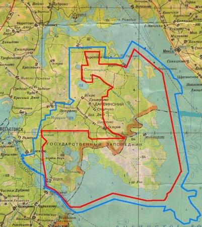 Карта Дарвинского заповедника